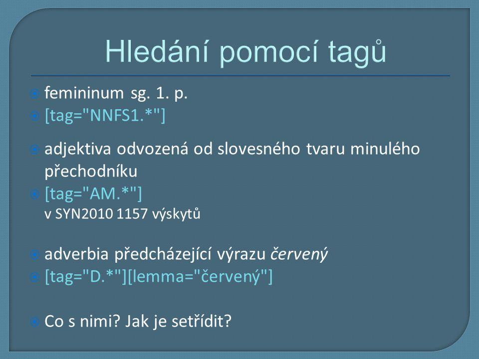 Hledání pomocí tagů femininum sg. 1. p. [tag= NNFS1.* ]